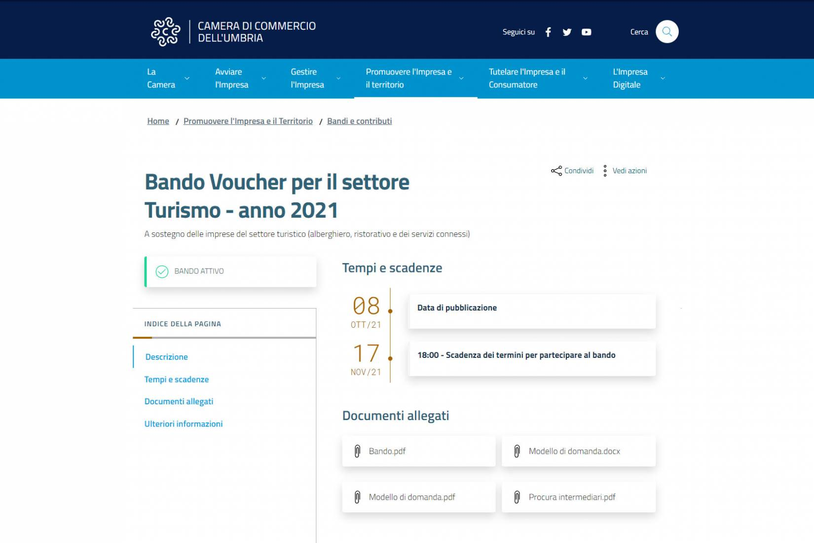 Bando Voucher 2021 per il settore Turismo, Camera di Commercio Umbria