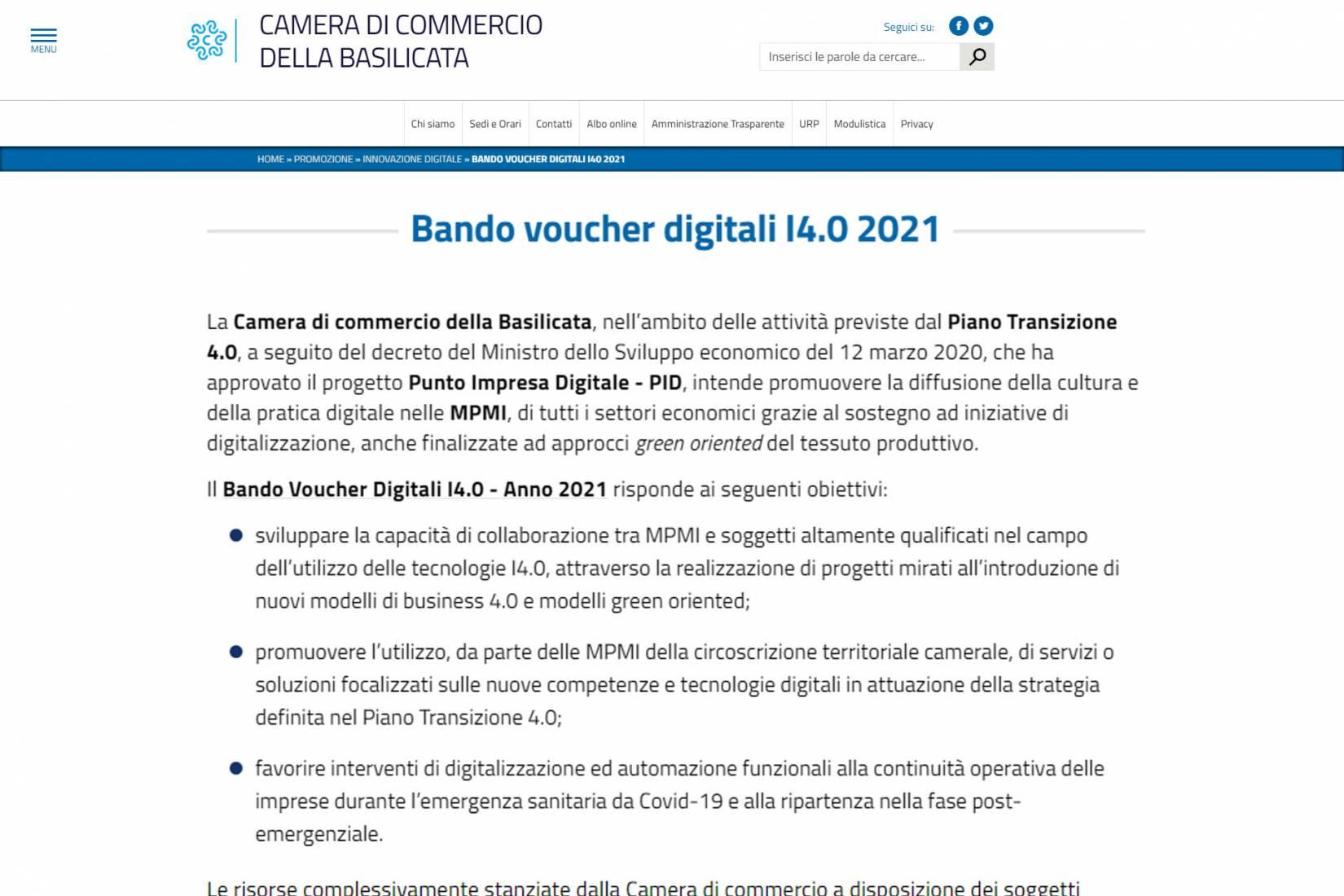 Bando Voucher Digitali i4.0 Camera Commercio Basilicata 2021