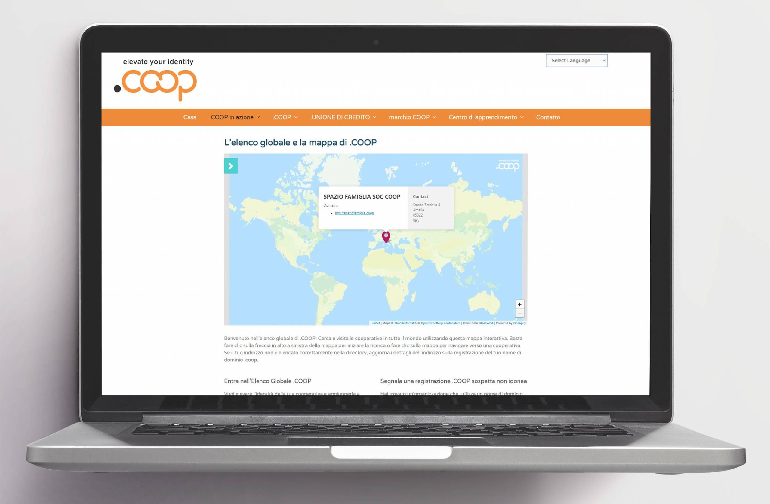 L'elenco globale delle cooperative e la mappa di .COOP